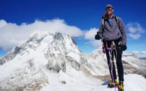 Carl Schmitt at the 18,000 foot summit of Ishinca mountain in the Cordillera Blanca.