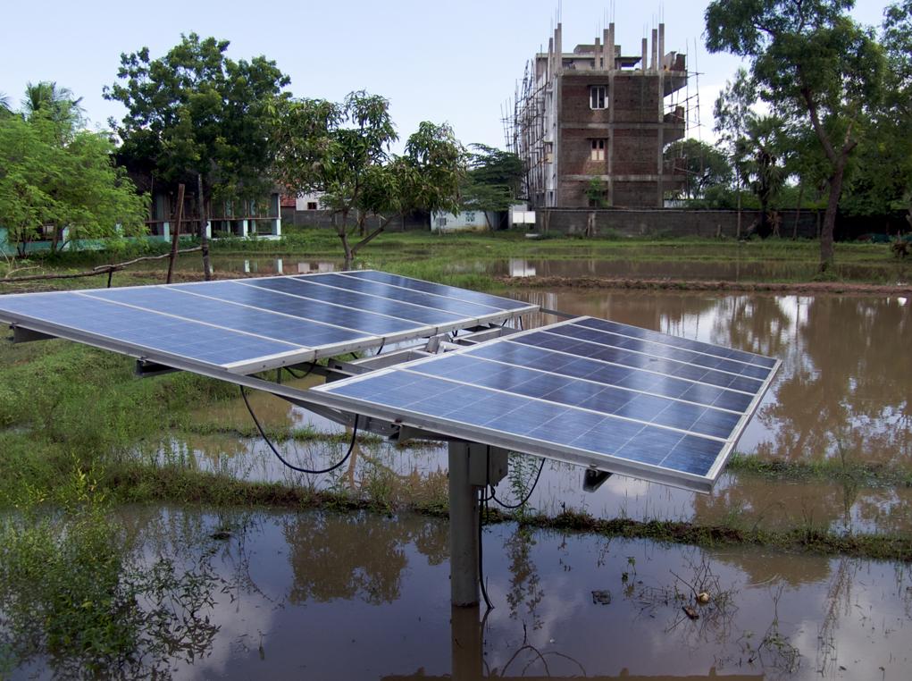 Solar panels on a farm in India.