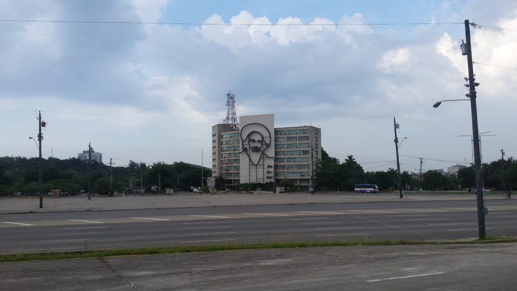 "A steel memorial of Camilo Cienfuegos looks out of Plaza de la Revolucion in Havana, with the quotation ""Vas bien, Fidel"" (You're doing fine, Fidel)."
